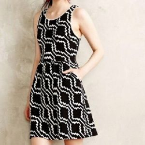 Anthropologie Postmark Black and White Dress